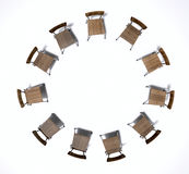 Group Therapy Chairs. A 3D render concept of a group of chairs in a circular formation symbolizing a group therapy in session on an isolated white studio Royalty Free Stock Photo