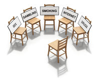 Group Therapy. Concept with the chairs in the circle - 3D concept Stock Photography