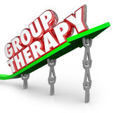 Group Therapy Patients Sharing Healing Together Treatment Sessio. Group Therapy words in red 3d letters on a green arrow lifted by people or patients sharing Stock Images