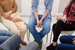 Group therapy, psychology support meeting. Group therapy. Rehab group on psychology support meeting, closeup stock image
