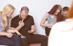 Group therapy session. Copy space stock images