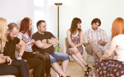 Group therapy session. Copy space stock image