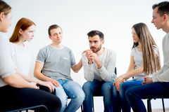 Group therapy in session stock image