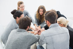 Group therapy in session sitting in a circle Royalty Free Stock Photos