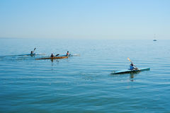 Group therapy training on kayak. Group training of children kayaking in the sea. Concept sports Royalty Free Stock Image