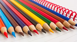 Group of thick colored pencils. Royalty Free Stock Image