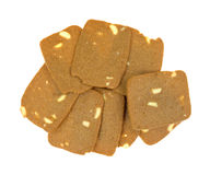 Group of thin cookies with sliced almonds Stock Photography