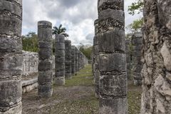 Thousand Columns at Chichen Itza. Group of the Thousand Columns at Chichen Itza feels like a forest of columns. They surround the Temple of of Warriors and they Royalty Free Stock Photos