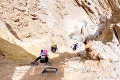 Group of three backpackers hiking desert canyon. Royalty Free Stock Image