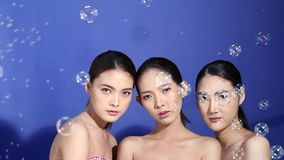 Group of three Asian young pretty black hair nice skin woman stock video