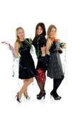 Group of three beautiful elegant woman celebrating Stock Images