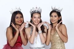 Group of Beauty Pageant in formal dress, evening gown, wedding b stock images