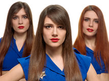 Group of three beauty women. triplets sisters Stock Image