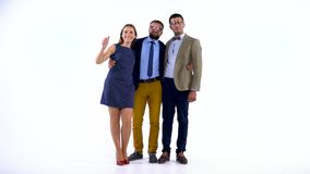Group of three business partners posing in studio for camera. Businesswoman and two male coworkers posing for camera in studio stock footage