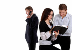Group of three business people working stock photography