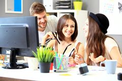 Group of three cheerful business partners Royalty Free Stock Images