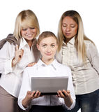 Group of three confident businesswoman smiling Stock Photos