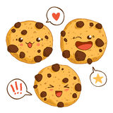 Group of three cute kawaii cookies. Stock Images