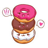 Group of three cute kawaii donuts. Stock Photos