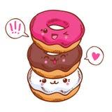 Group of three cute kawaii donuts. Stock Photos
