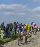 Group of Three Cyclists- Paris-Roubaix 2014 Royalty Free Stock Photo