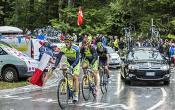 Group of Three Cyclists - Tour de France 2014 Royalty Free Stock Photo