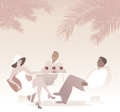 Group of three drinking red wine under the palms. Retro style summer scene Royalty Free Stock Photo