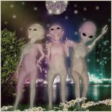 Group of three extraterrestrial friends. 3d illustration Stock Photos