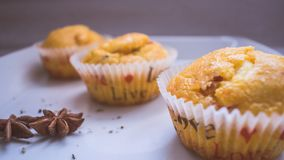 Freshly baked muffins. Group of three freshly baked muffins in white plate. Close up stock image