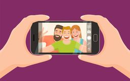 Three friends taking a selfie. Group of three friends taking a photo with a smartphone. Taking a selfie. Friendship concept. Vector illustration Stock Photo