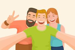 Three friends taking a selfie. Group of three friends taking a selfie. Friendship and youth concept. Vector illustration Stock Photography