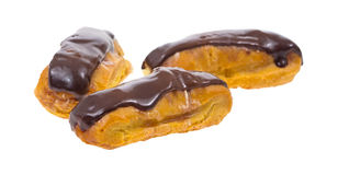 Group of Three Mini Chocolate Eclairs Stock Image