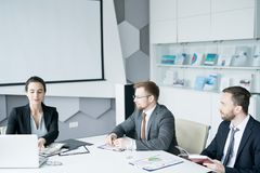 Group of Business People Meeting in Conference Room royalty free stock image