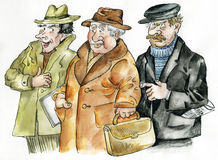 Group of three old male friends. Illustration Stock Images