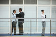 Group of three persons talking office Stock Photography