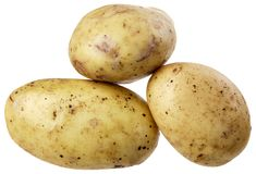 A group of three potatoes Stock Photo