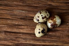 Group of three quail eggs on a dark wooden background, top view, close-up, selective focus, copy space, backlight. Group of three spotted quail eggs on a dark Stock Image