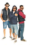 Group of three rappers boys Royalty Free Stock Images