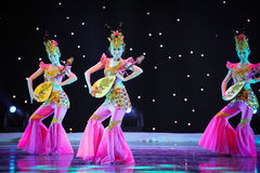 The group of three rebound pipa. June 28, 2014 in Nanchang Art Center, rural credit cooperatives in Jiangxi Fuk troupe dance rehearsal Royalty Free Stock Photography