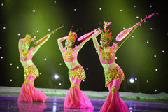 The group of three rebound pipa. June 28, 2014 in Nanchang Art Center, rural credit cooperatives in Jiangxi Fuk troupe dance rehearsal Royalty Free Stock Images