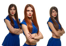 Group of three serious women. triplets sisters Royalty Free Stock Photography