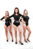 Group of three ladies in black body suits Stock Image