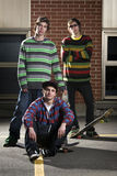 Group of three skateboarder friends Royalty Free Stock Images