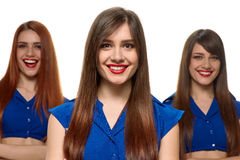 Group of three smiling women. triplets sisters Royalty Free Stock Photos
