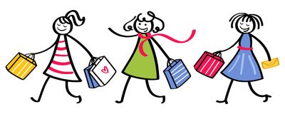 Group of three stick figure women wearing colorful dresses going shopping holding shopping bags. Isolated on white background Royalty Free Stock Image