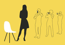 Group of three taking pictures of an elegant girl. And a chair design. Silhouettes and outlines  Illustration Stock Photography