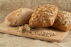 Group of three types of bread with seeds Royalty Free Stock Image