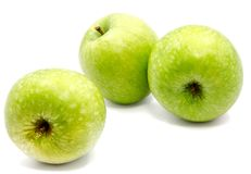 Apple Granny Smith. Group of three whole green apples Granny Smith isolated on white background n Royalty Free Stock Photography