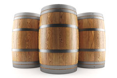 Group of three wine barrels Stock Images