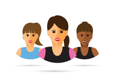 Group of three women cartoon illustration. Stock Photography